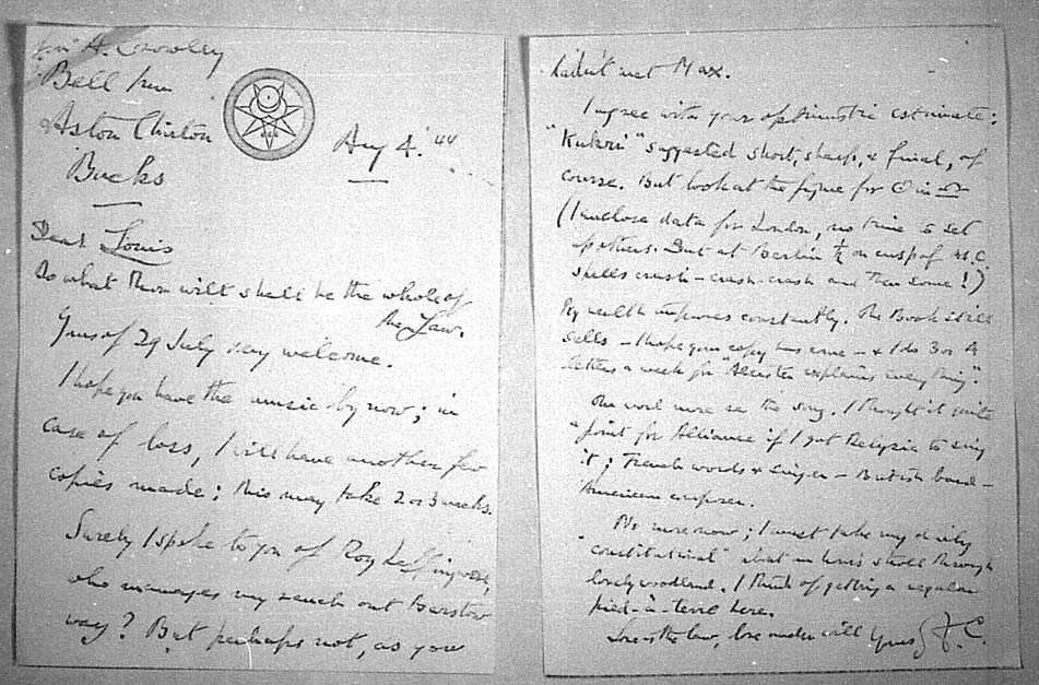 (08/04/1944) Aleister Crowley to Grady McMurtry #1