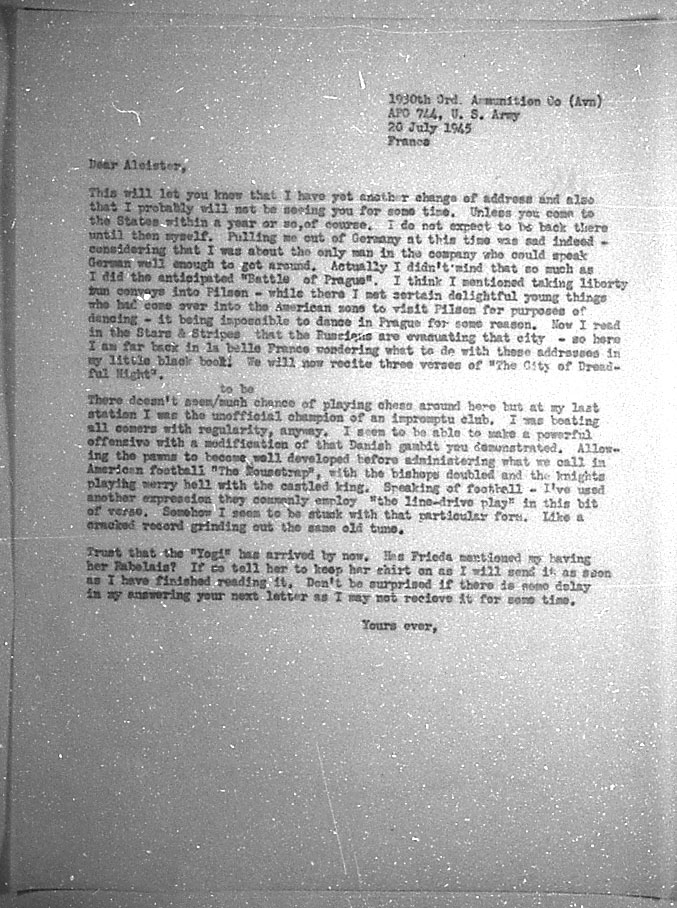 (07/20/1945) Grady McMurtry to Aleister Crowley