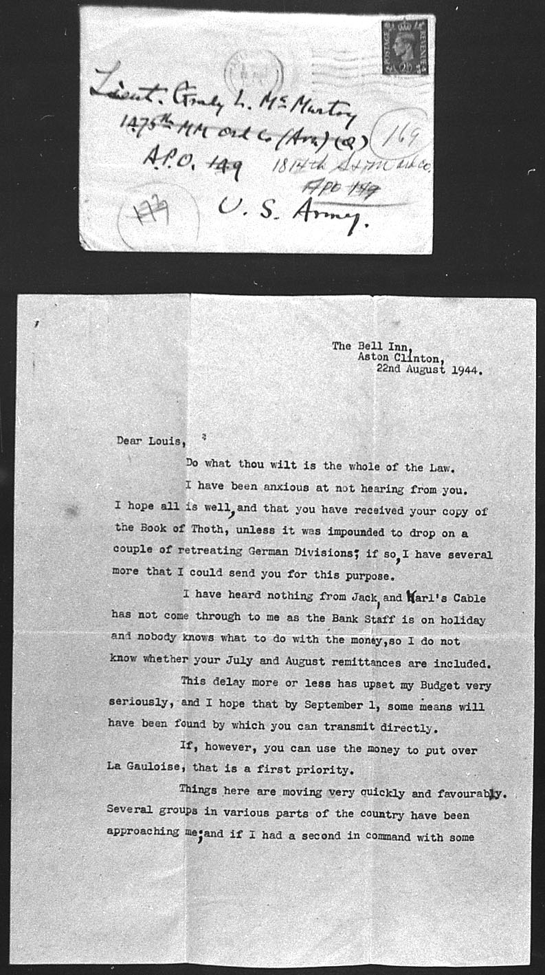 (08/22/1944) Aleister Crowley to Grady McMurtry #1