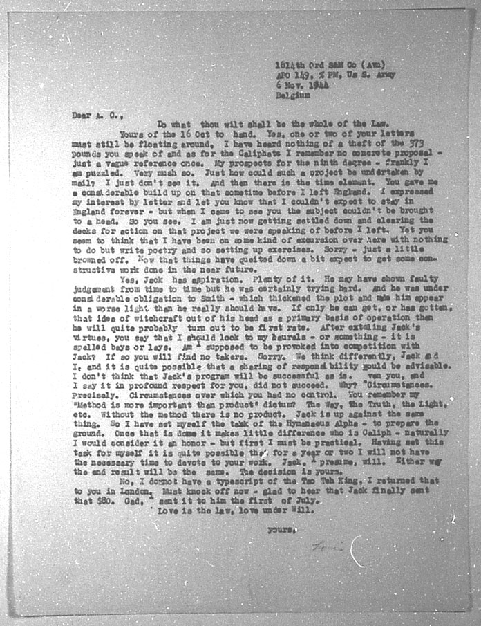 (11/06/1944) Grady McMurtry to Aleister Crowley