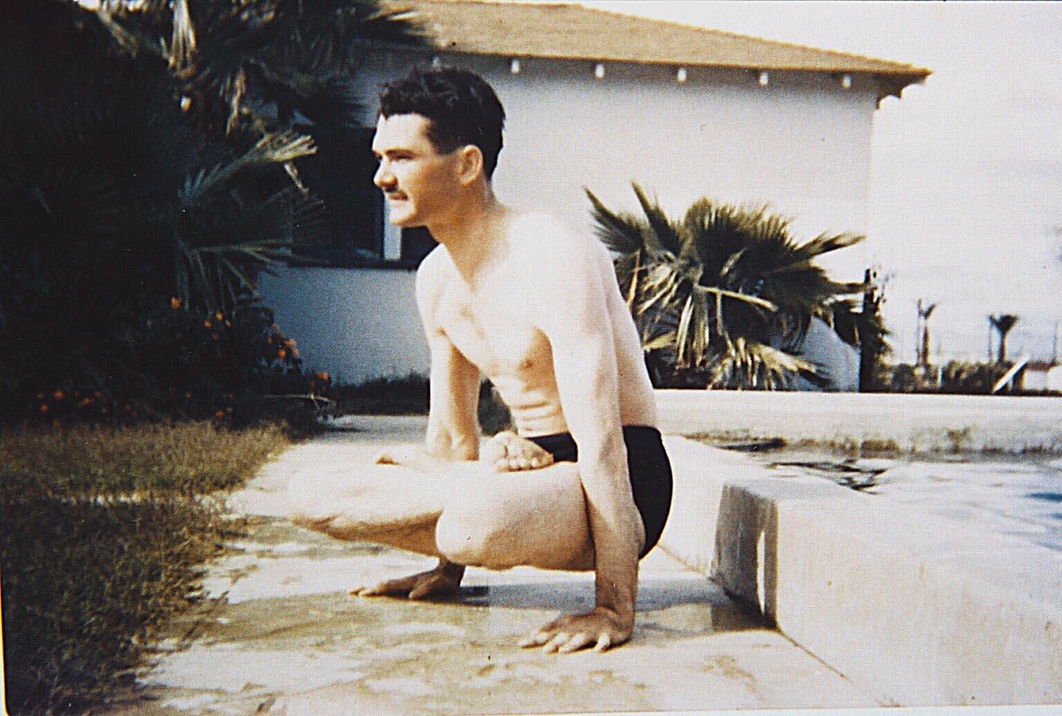 early s grady mcmurtry in yogic pose the grady mcmurtry project 1940s grady mcmurtry in yogic pose