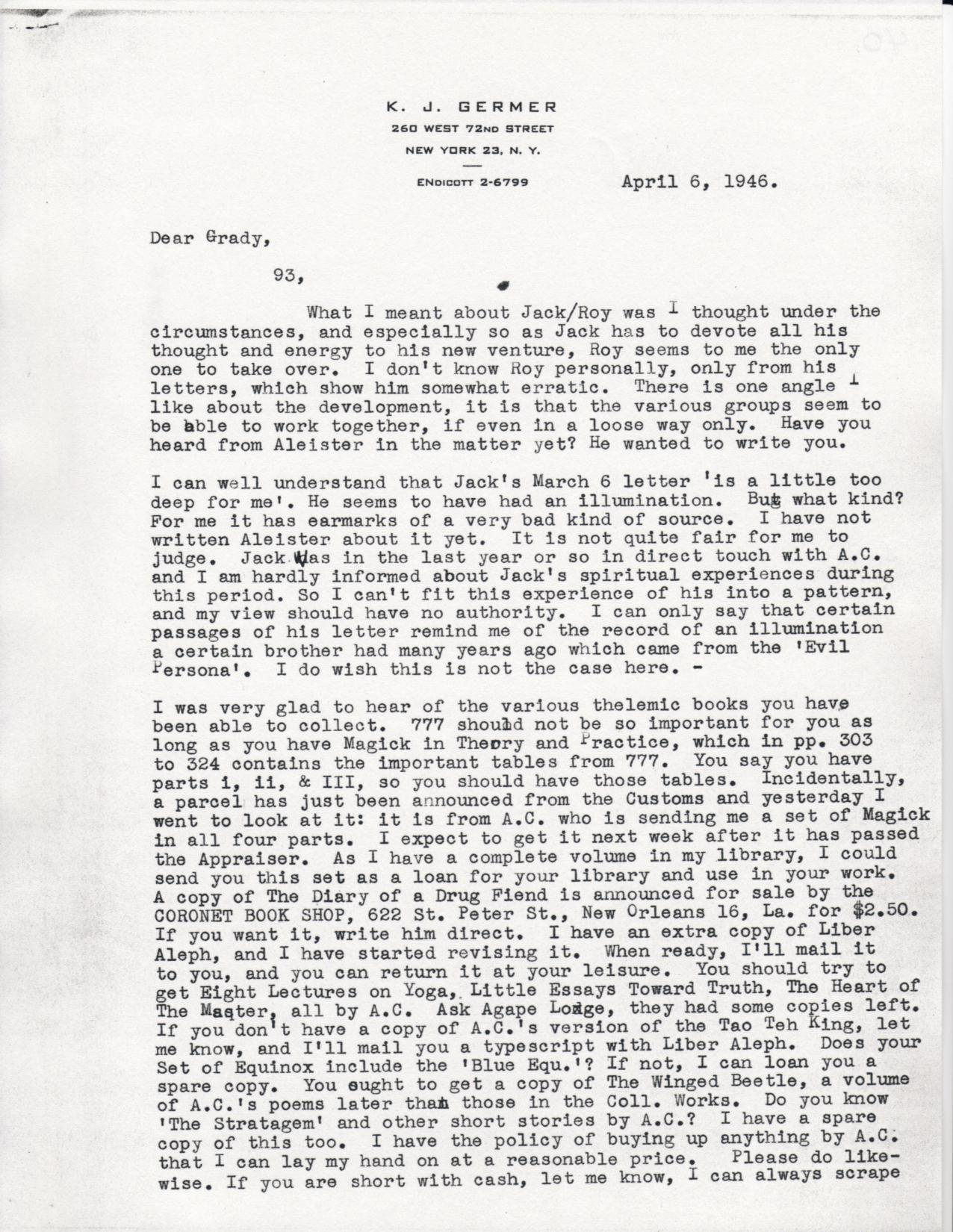 (04/06/1946) Karl Germer to Grady McMurtry (pg.1)