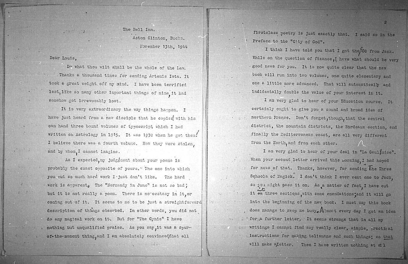 (11/13/1944) Aleister Crowley to Grady McMurtry #2