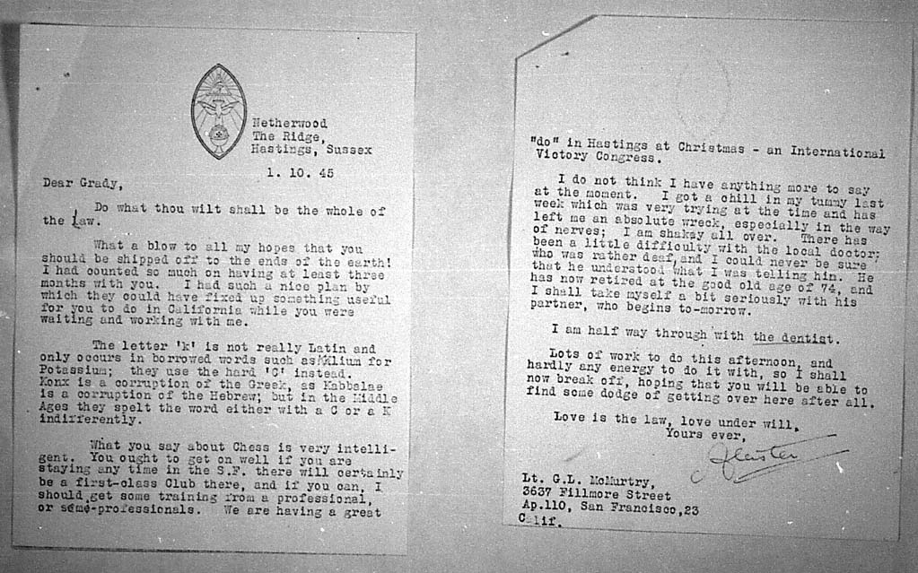 (10/01/1945) Aleister Crowley to Grady McMurtry