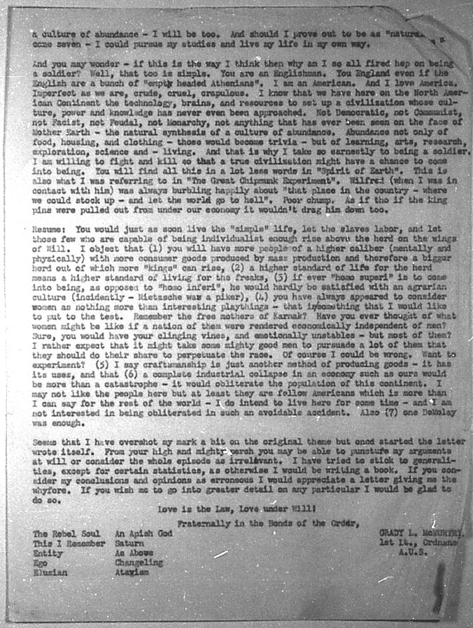 (07/28/1943) Grady McMurtry to Aleister Crowley #3