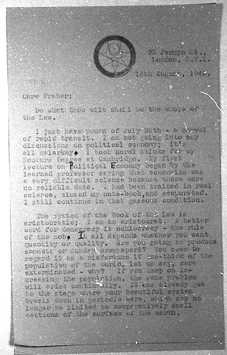 (08/18/1943) Aleister Crowley to Grady McMurtry #1