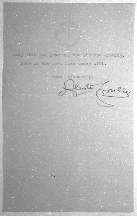 (08/18/1943) Aleister Crowley to Grady McMurtry #3