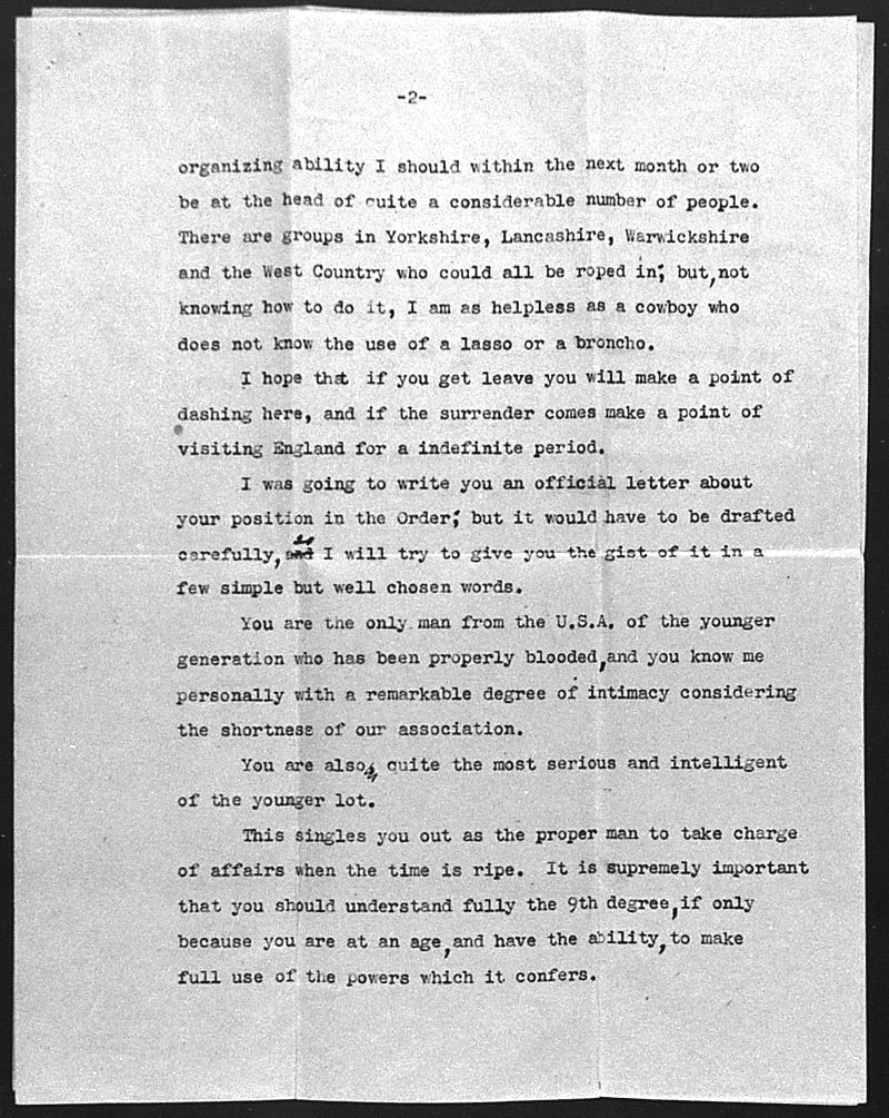 (08/22/1944) Aleister Crowley to Grady McMurtry #2