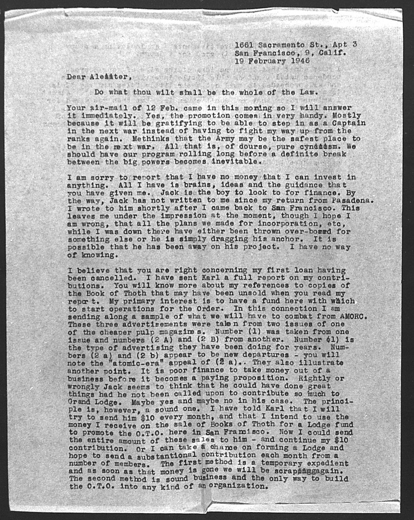 (02/19/1946) Grady McMurtry to Aleister Crowley #1