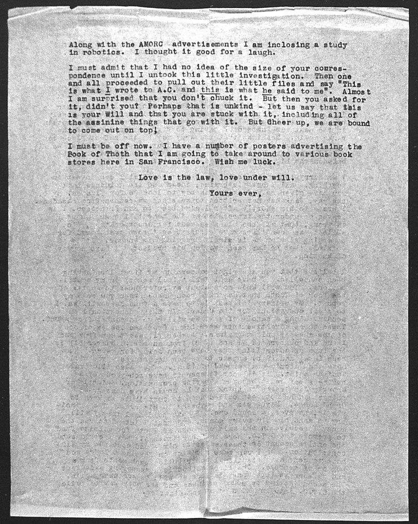 (02/19/1946) Grady McMurtry to Aleister Crowley #2