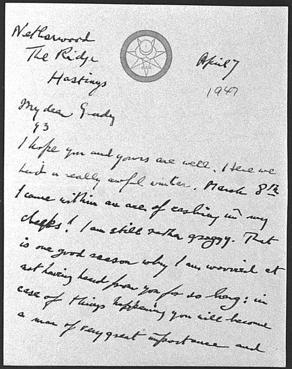 (04/07/1947) Aleister Crowley to Grady McMurtry #1