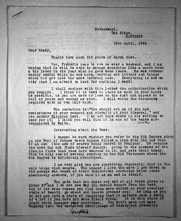 (04/10/1946) Aleister Crowley to Grady McMurtry #1
