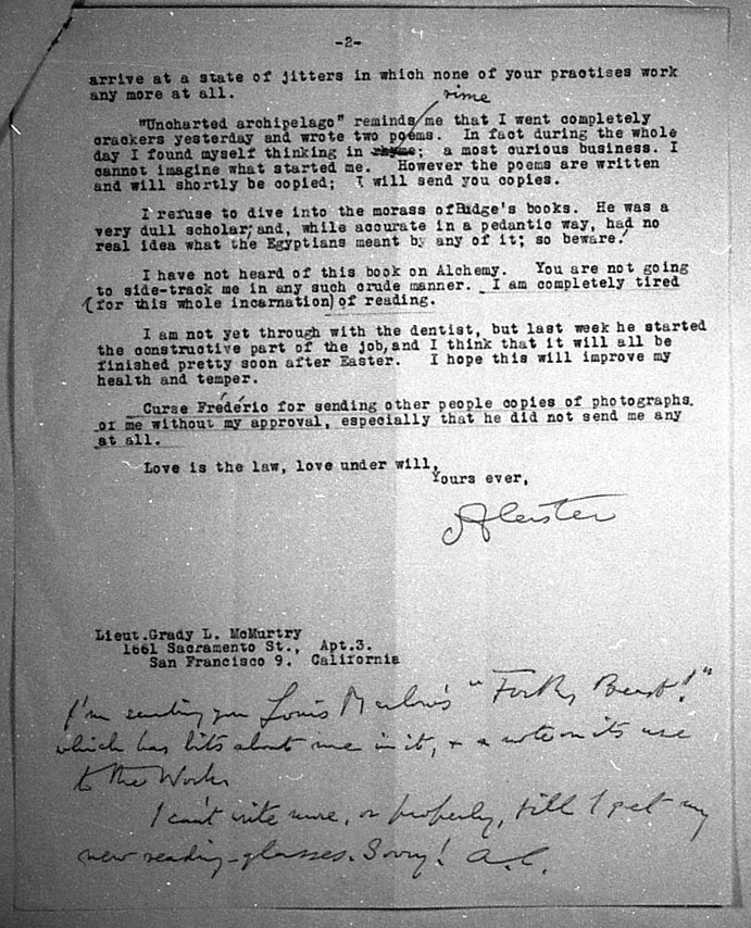 (04/10/1946) Aleister Crowley to Grady McMurtry #2