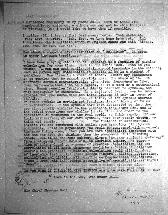 (11/25/1943) Grady McMurtry to Aleister Crowley #2