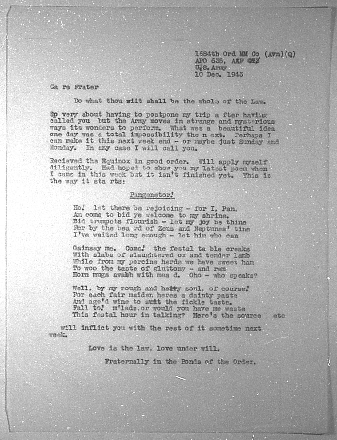 (12/10/1943) Grady McMurtry to Aleister Crowley