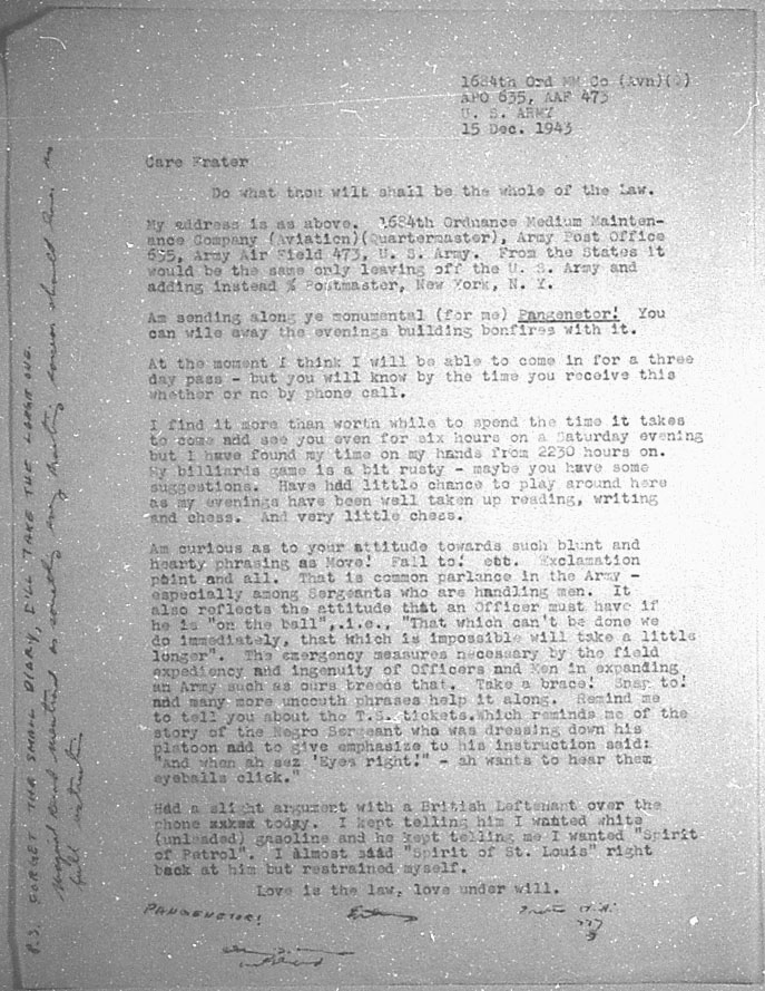 (12/15/1943) Grady McMurtry to Aleister Crowley