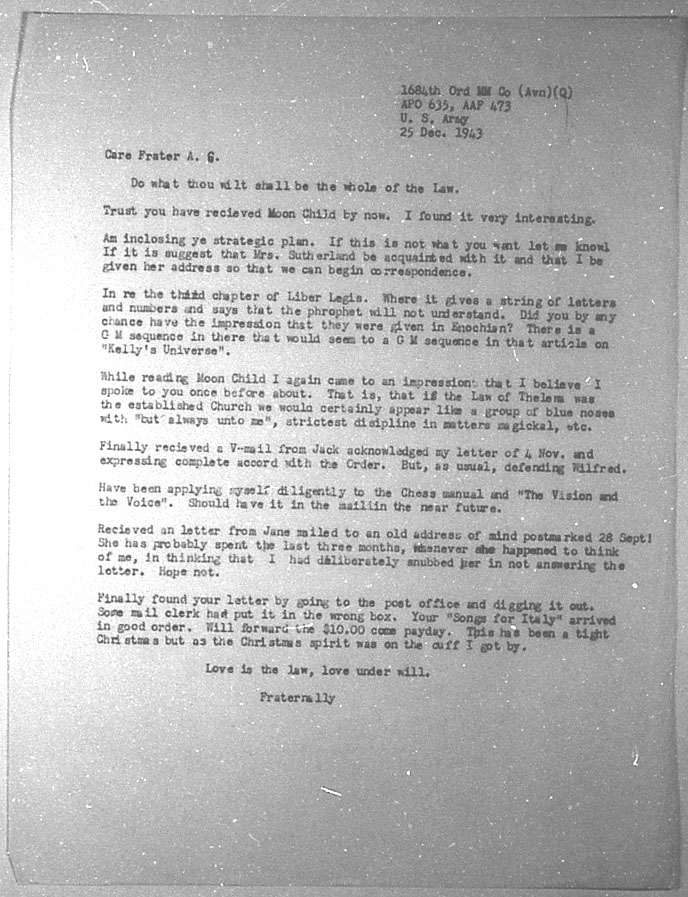 (12/25/1943) Grady McMurtry to Aleister Crowley