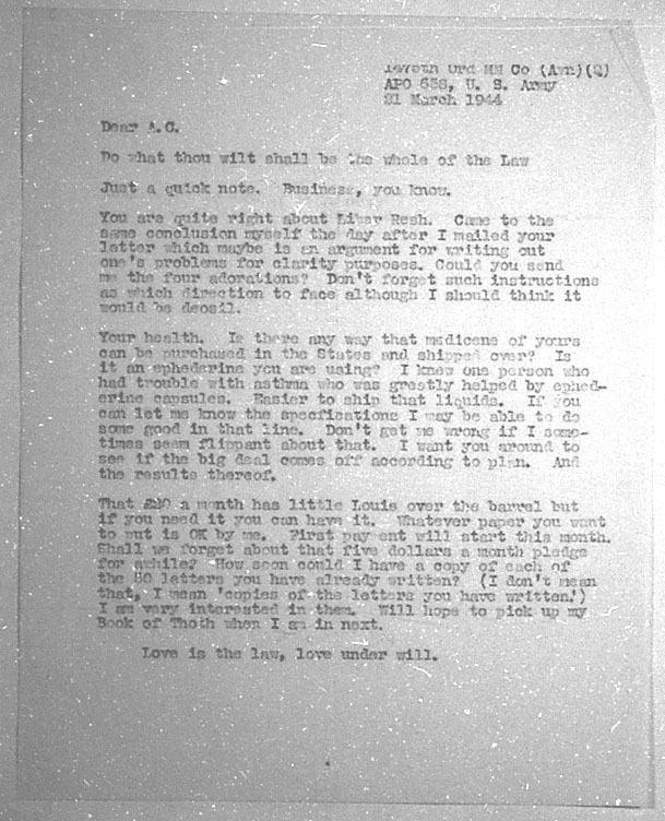 (03/21/1944) Grady McMurtry to Aleister Crowley