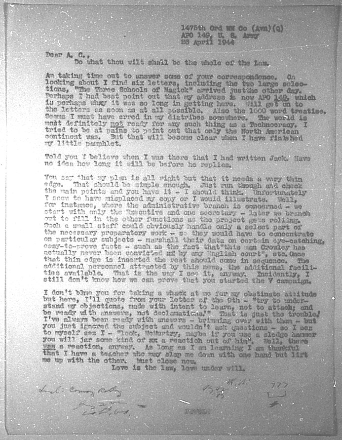 (04/28/1944) Grady McMurtry to Aleister Crowley