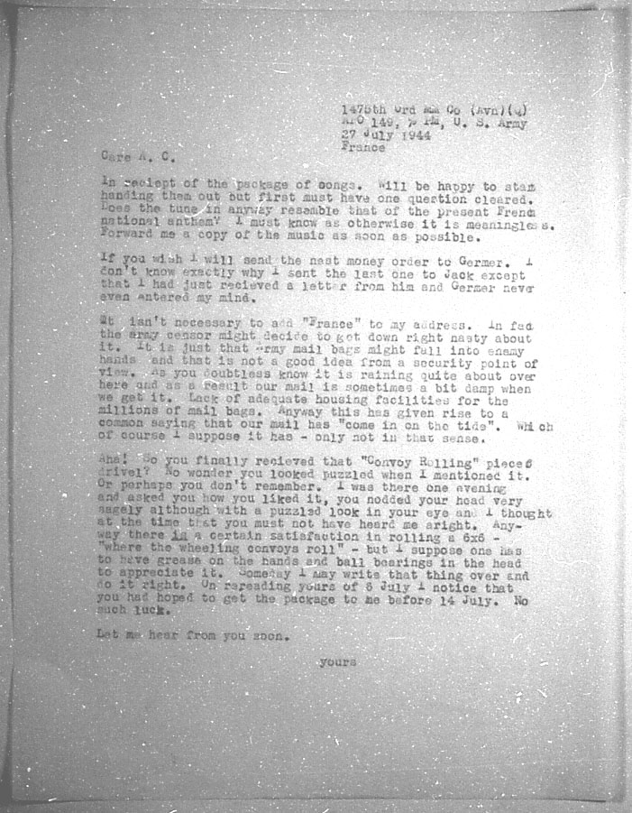 (07/27/1944) Grady McMurtry to Aleister Crowley