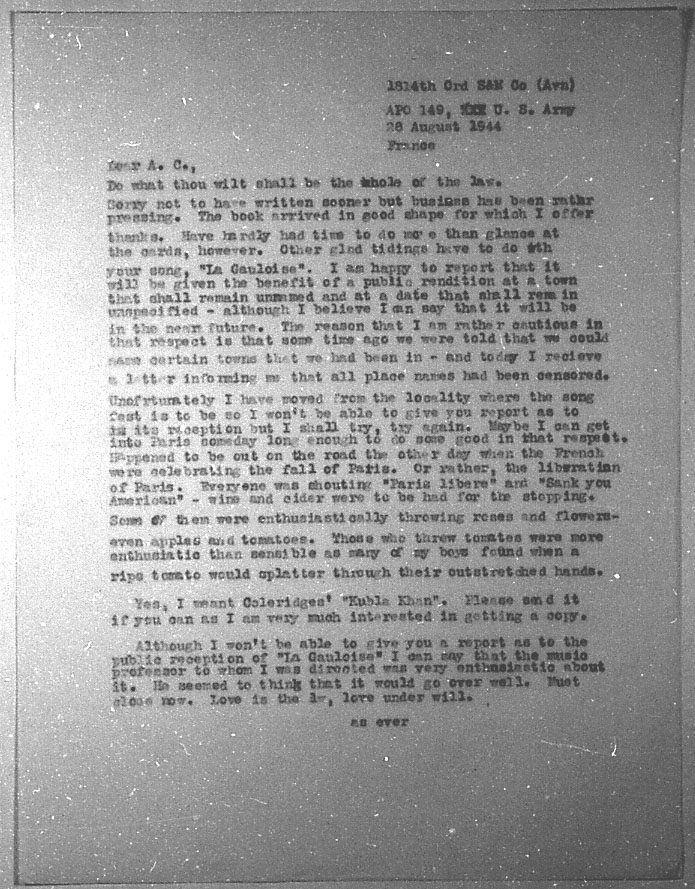 (08/28/1944) Grady McMurtry to Aleister Crowley