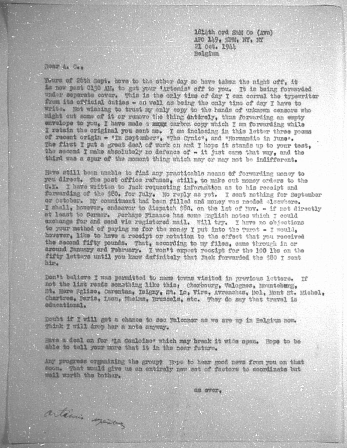 (10/21/1944) Grady McMurtry to Aleister Crowley