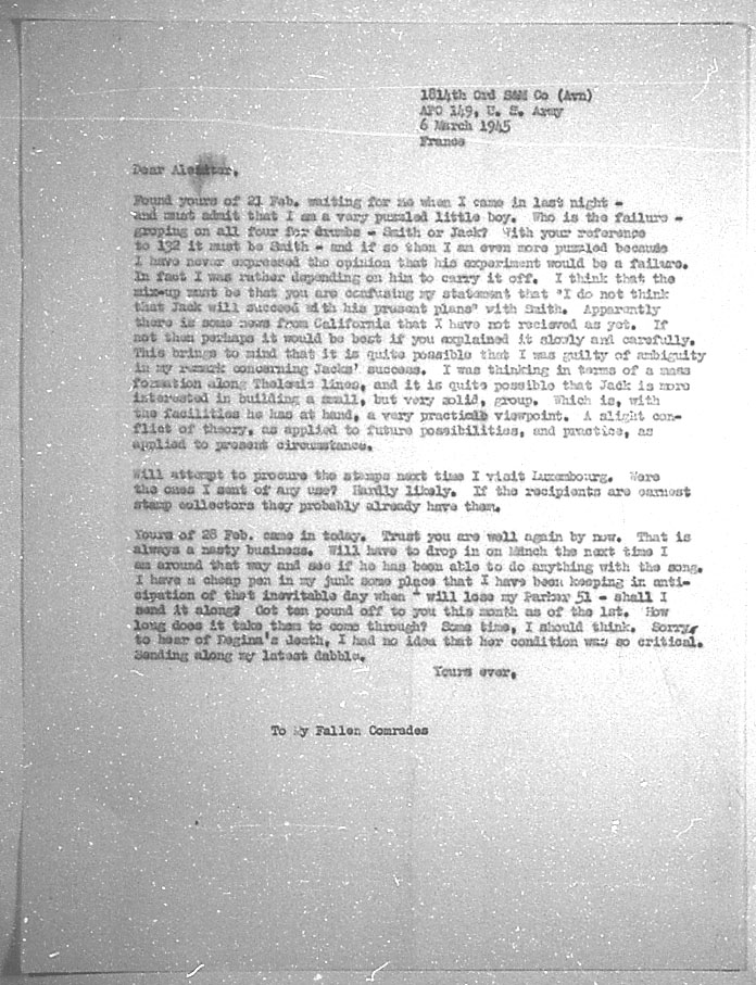 (03/06/1945) Grady McMurtry to Aleister Crowley