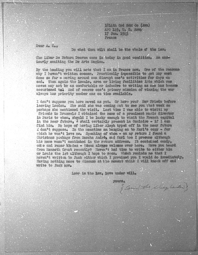 (01/17/1945) Grady McMurtry to Aleister Crowley
