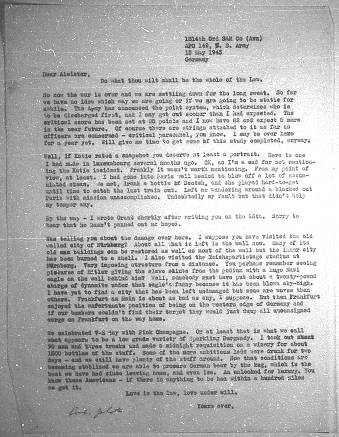(05/15/1945) Grady McMurtry to Aleister Crowley