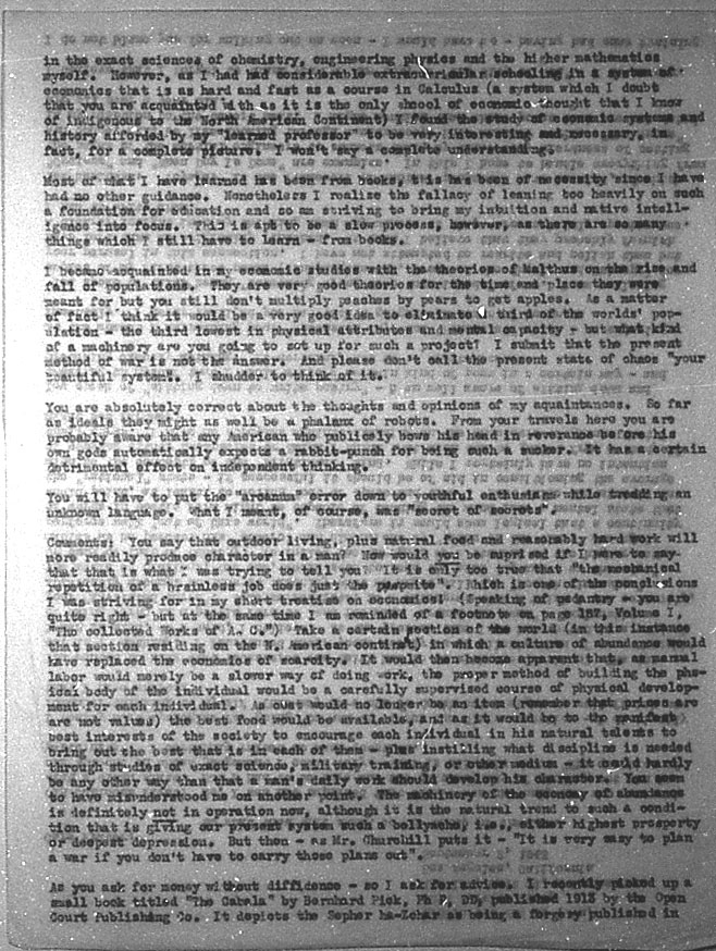 (09/02/1943) Grady McMurtry to Aleister Crowley #2