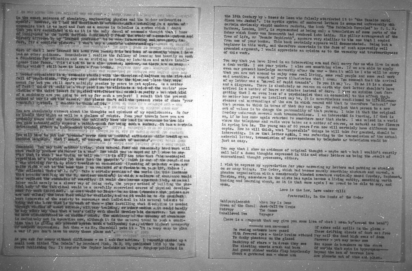 (09/02/1943) Grady McMurtry to Aleister Crowley #3