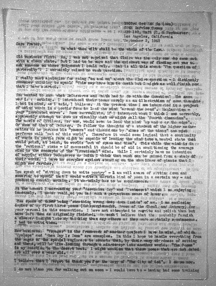 (09/02/1943) Grady McMurtry to Aleister Crowley #1