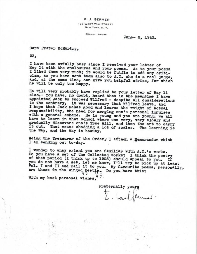 (1943/06/06) Karl Germer to Grady McMurtry