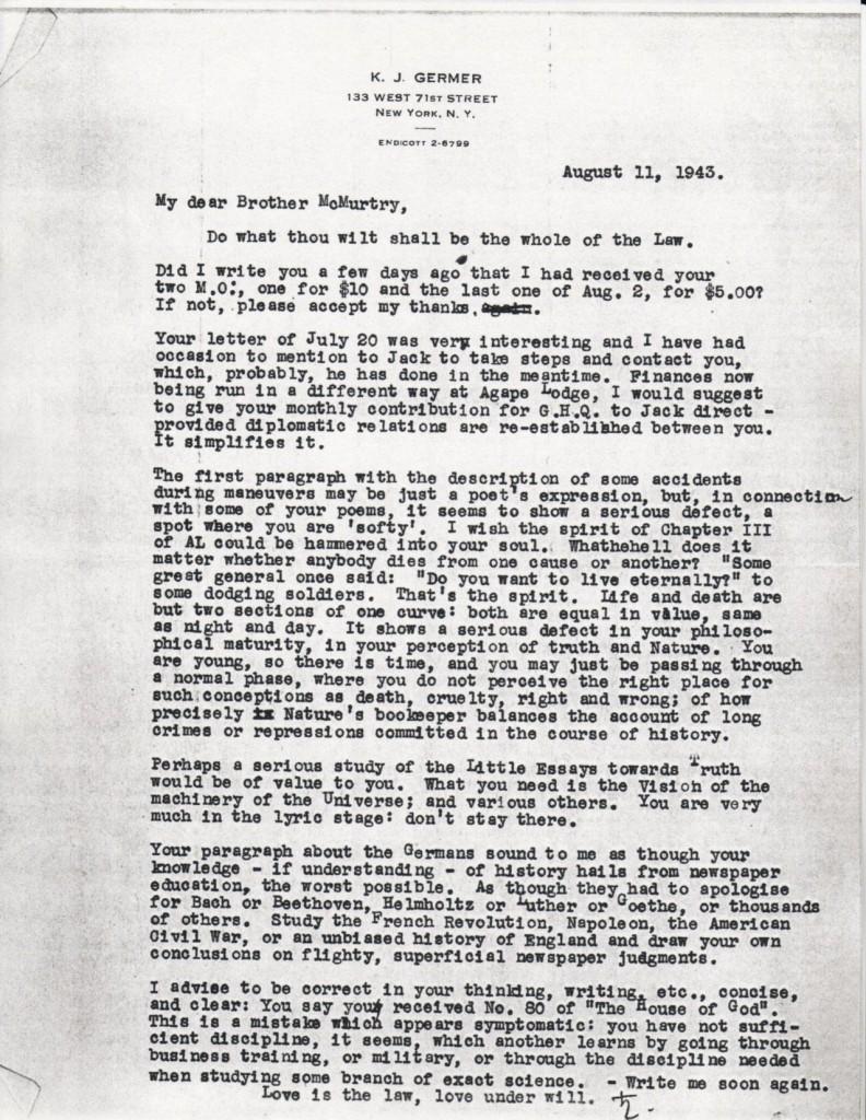 (1943/08/11) Karl Germer to Grady McMurtry