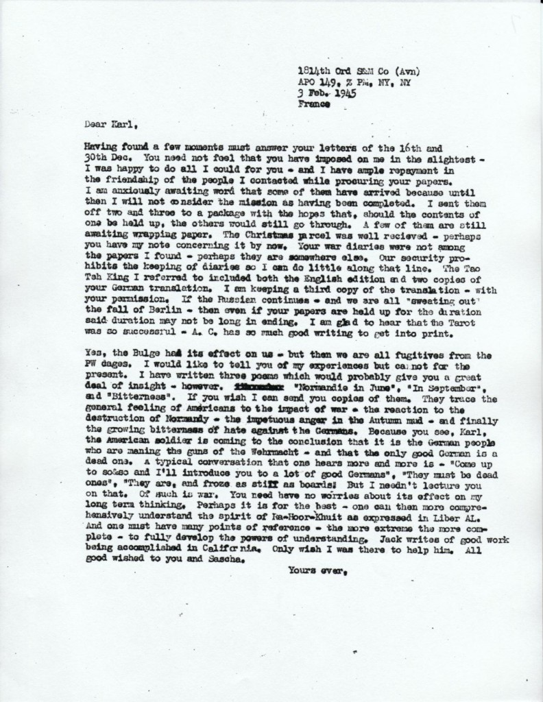 (02/03/1945) Grady McMurtry to Karl Germer