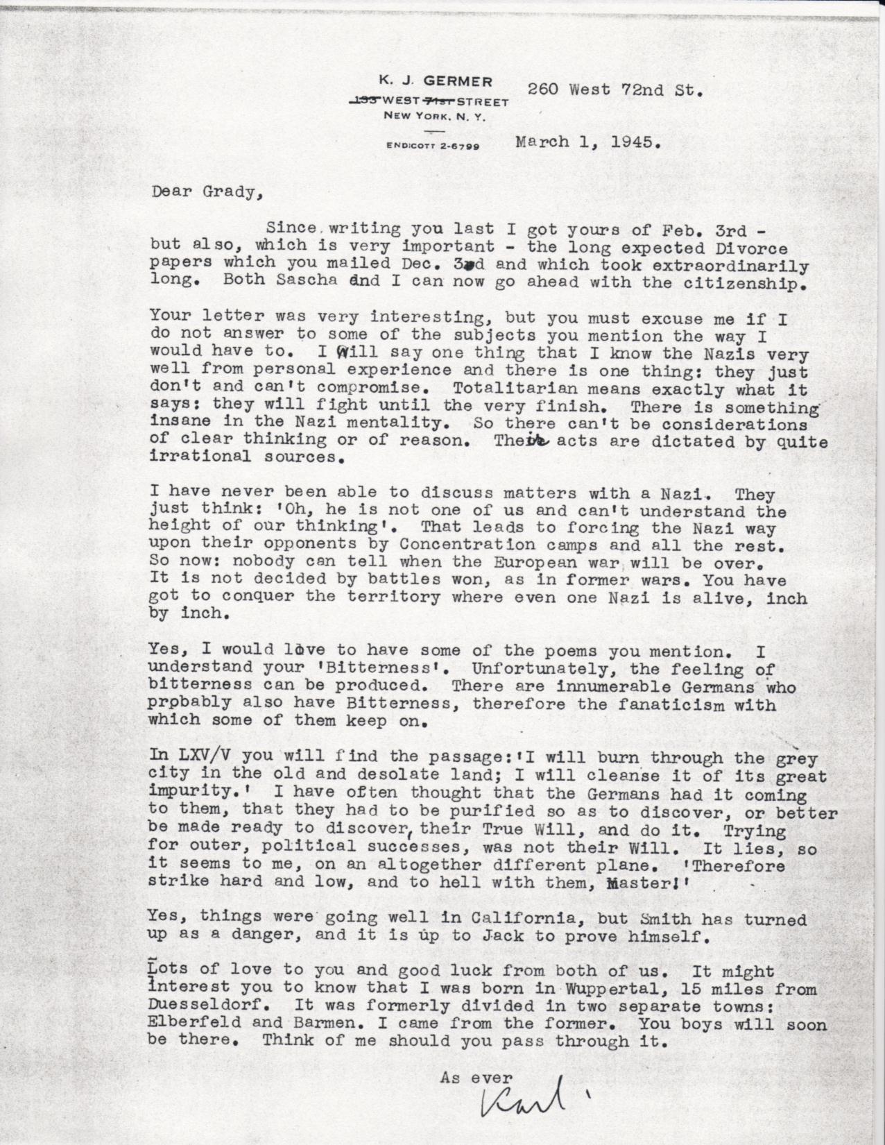 (03/01/1945) Karl Germer to Grady McMurtry
