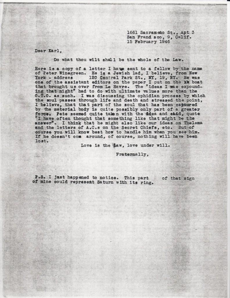 (02/15/1946) Grady McMurtry to Karl Germer