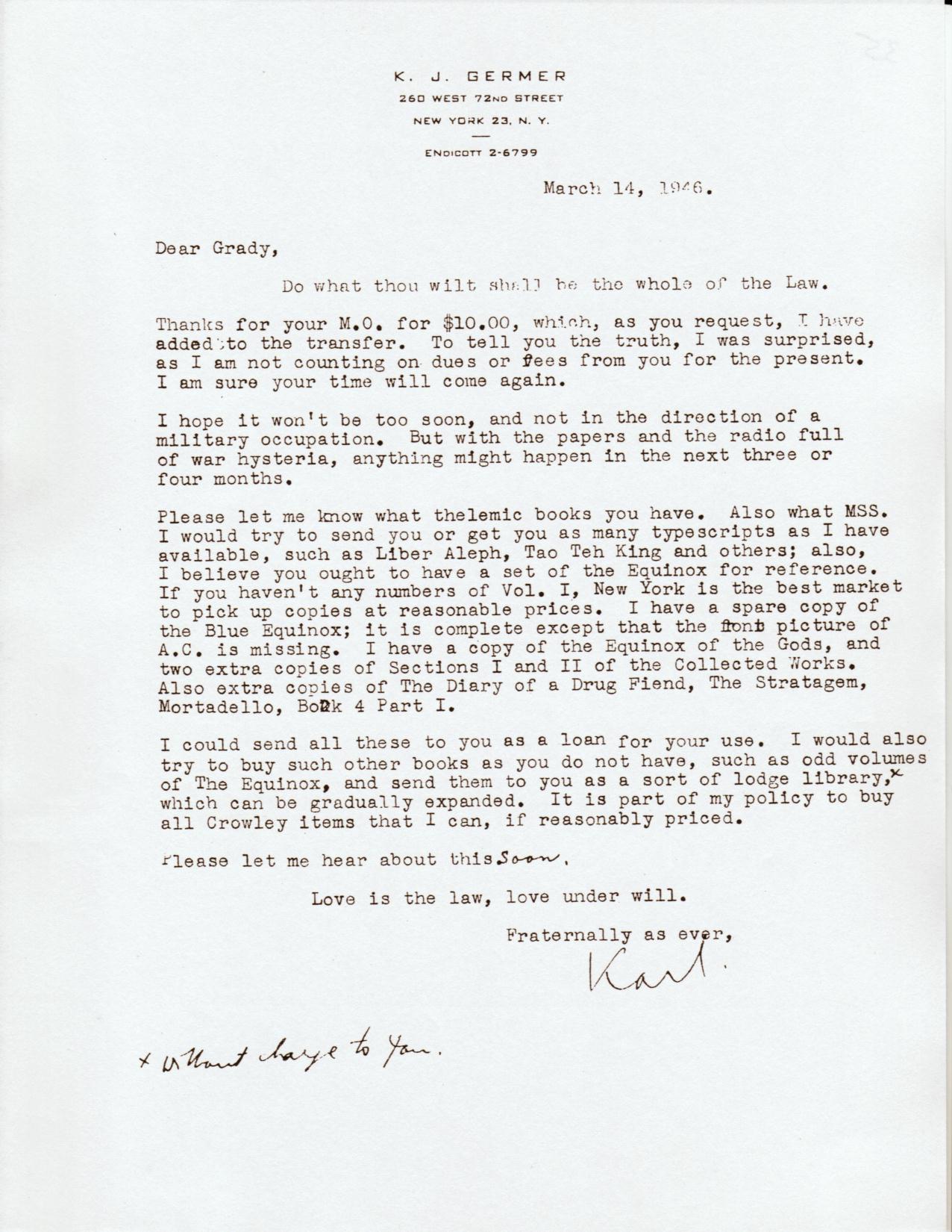 (03/14/1946) Karl Germer to Grady McMurtry
