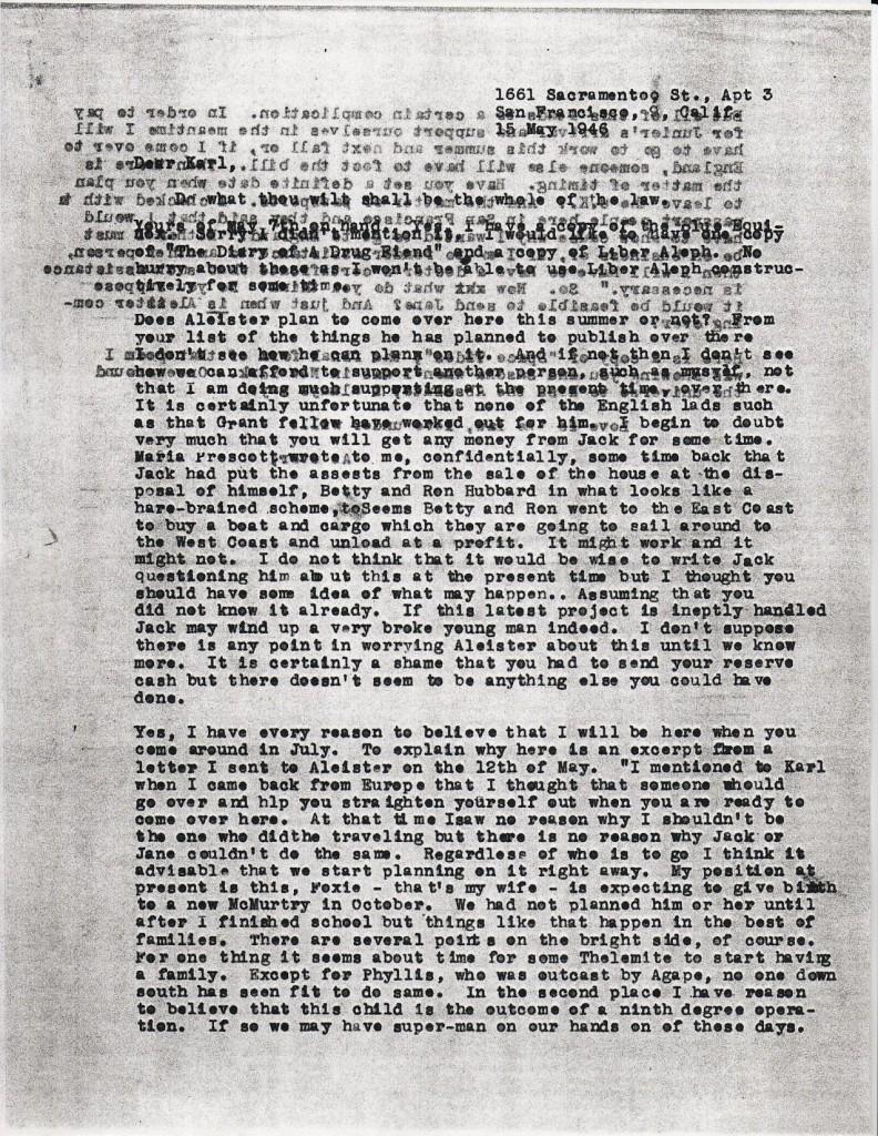 (05/15/1946) Grady McMurtry to Karl Germer (pg.1)