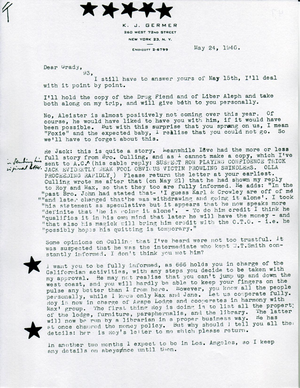 (05/24/1946) Karl Germer to Grady McMurtry (pg.1)