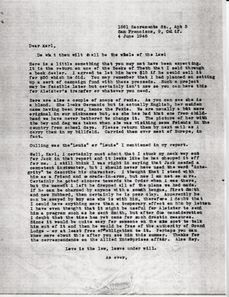 (06/04/1946) Grady McMurtry to Karl Germer