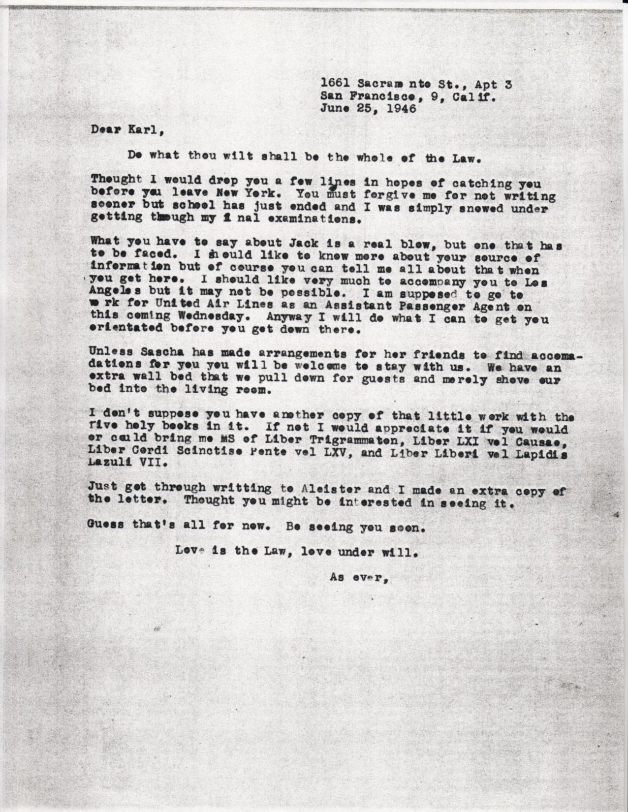 (06/25/1946) Grady McMurtry to Karl Germer