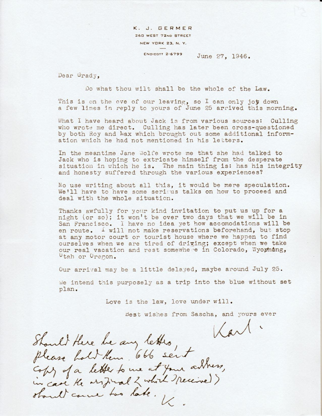 (06/27/1946) Karl Germer to Grady McMurtry